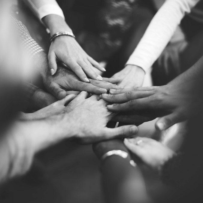 Team alle Hände zusammen